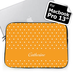 Custom Name Orange Polka Dots Macbook Pro 13 Sleeve (2015)