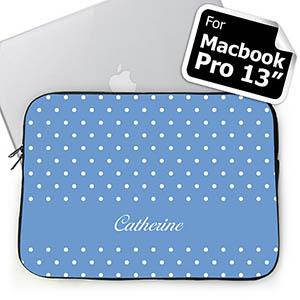 Custom Name Sky Blue Polka Dots Macbook Pro 13 Sleeve (2015)