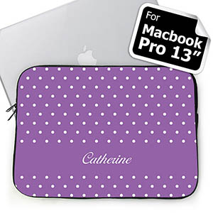 Custom Name Lavender Polka Dots MacBook Pro 13 Sleeve