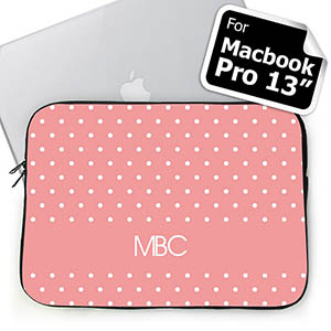 Custom Initials Pink Polka Dots Macbook Pro 13 Sleeve (2015)