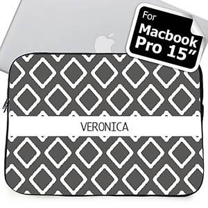Custom Name Grey Lkat Macbook Pro 15 Sleeve (2015)