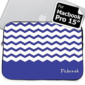 Custom Name Blue Chevron Macbook Pro 15 Sleeve (2015)