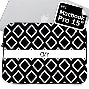 Custom Initials Black Lkat Macbook Pro 15 Sleeve (2015)