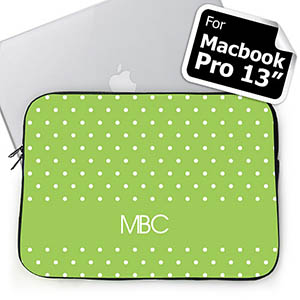 Custom Initials Lime Polka Dots Macbook Pro 13 Sleeve (2015)