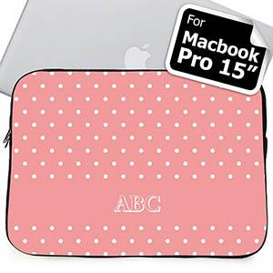 Custom Initials Pink Polka Dots MacBook Pro 15 Sleeve