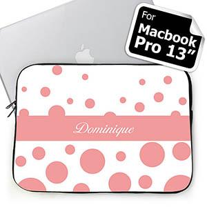 Custom Initials Pink Retro Circles Macbook Pro 13 Sleeve (2015)
