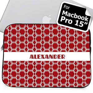 Custom Name Red Links MacBook Pro 15 Sleeve