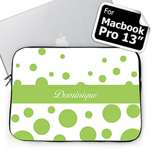 Custom Name Lime Retro Circles Macbook Pro 13 Sleeve (2015)