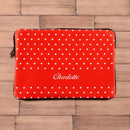 Custom Name Red Polka Dots Macbook Pro 15 Sleeve (2015)