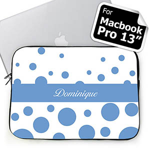 Custom Name Sky Blue Retro Circles MacBook Pro 13