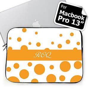 Custom Initials Orange Retro Circles Macbook Pro 13 Sleeve (2015)