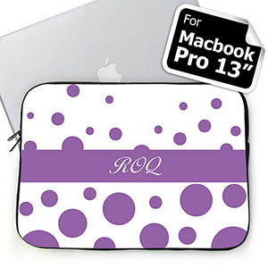 Personalized Initials Lavender Retro Circles Macbook Pro 13 Sleeve (2015)