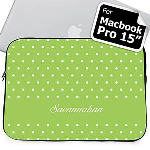 Custom Name Lime Polka Dots Macbook Pro 15 Sleeve (2015)