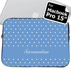 Custom Name Sky Blue Polka Dots Macbook Pro 15 Sleeve (2015)
