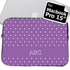 Custom Initials Lavender Polka Dots Macbook Pro 15 Sleeve (2015)