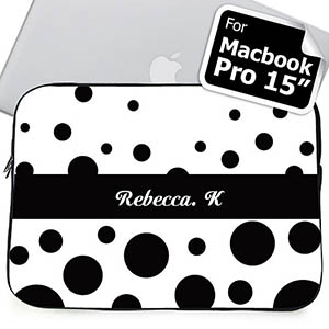 Custom Name Black Retro Circles Macbook Pro 15 Sleeve (2015)