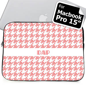 Custom Initials Pink Hounds Tooth Macbook Pro 15 Sleeve