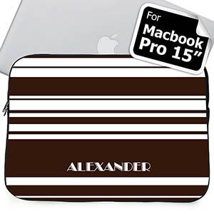 Custom Name Chocolate Stripes MacBook Pro 15 Sleeve