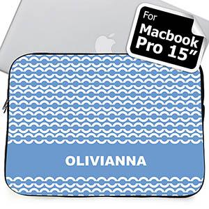Custom Name Sky Blue Chain MacBook Pro 15 Sleeve