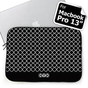 Custom Initials Black Quatrefoil Macbook Pro 13 Sleeve (2015)