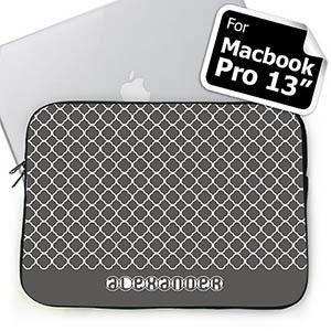 Custom Name Grey Quatrefoil Macbook Pro 13 Sleeve (2015)