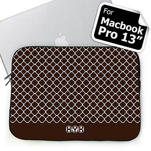 Custom Initials Chocolate Quatrefoil MacBook Pro 13 Sleeve