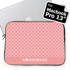 Custom Name Pink Quatrefoil Macbook Pro 13 Sleeve (2015)