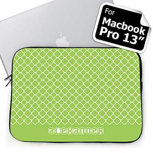 Custom Name Lime Quatrefoil Macbook Pro 13 Sleeve