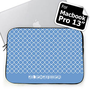 Custom Name Blue Quatrefoil MacBook Pro 13 Sleeve