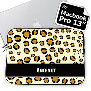 Custom Name Leopard Pattern Macbook Pro 13 Sleeve (2015)