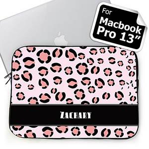 Custom Name Pink Leopard Pattern Macbook Pro 13 Sleeve (2015)