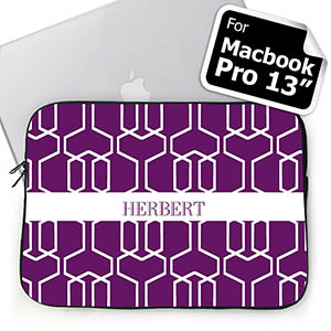 Custom Name Purple Trellis MacBook Pro 13 Sleeve