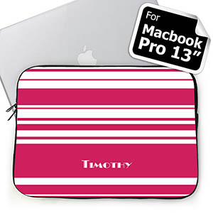 Custom Name Hot Pink Stripes MacBook Pro 13 Sleeve