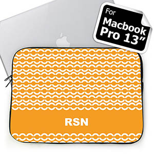 Custom Initials Orange Chain MacBook Pro 13 Sleeve