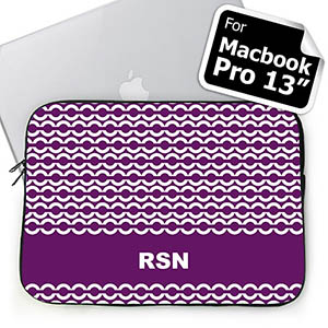 Custom Initials Purple Chain MacBook Pro 13 Sleeve