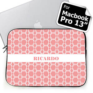 Custom Name Pink Links MacBook Pro 13 Sleeve