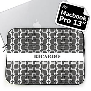 Custom Name Grey Links Macbook Pro 13 Sleeve (2015)