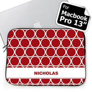 Personalized Name Red Hoopla Macbook Pro 13 Sleeve (2015)
