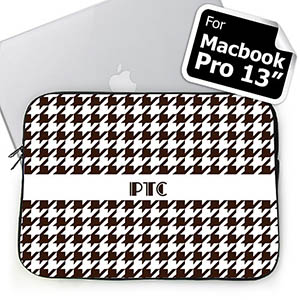 Personalized Initials Chocolate Hounds Tooth Macbook Pro 13 Sleeve (2015)