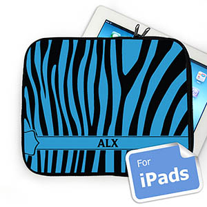 Custom Initials Black & Blue Zebra Pattern Ipad Sleeve