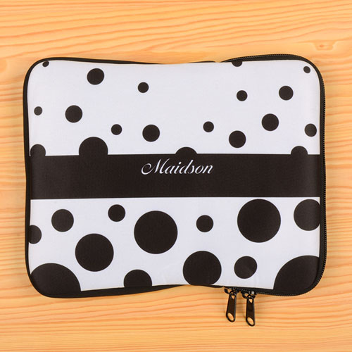 Personalized Name Black Retro Circles iPad Sleeve