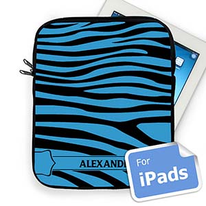 Custom Name Black & Blue   Zebra Pattern  iPad Sleeve