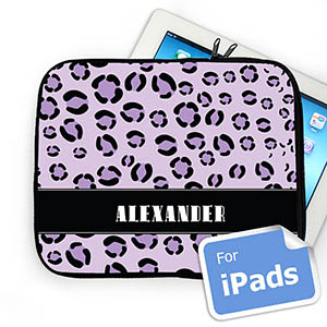 Custom name Purple Leopard Pattern iPad Sleeve