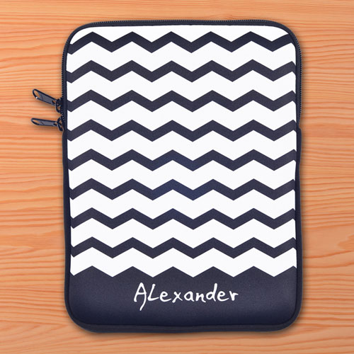 Personalized Initials Black Chevron Ipad Sleeve