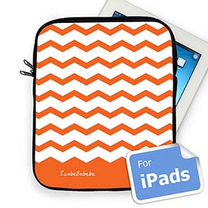 Custom Name Orange Chevron Ipad Sleeve