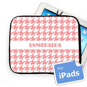 Custom Name Pink Hounds Tooth Ipad Sleeve
