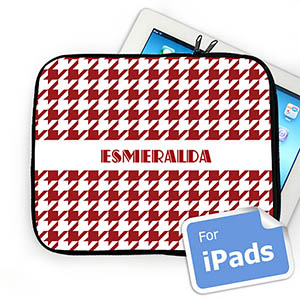 Custom Name Red  Houndstooth iPad Sleeve