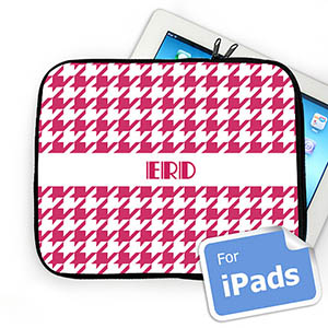 Custom Initials Hot Pink  Houndstooth iPad Sleeve