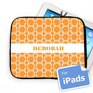 Custom Name Orange Links iPad Sleeve