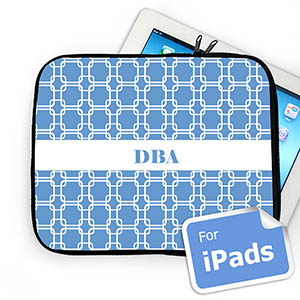 Custom Initials Sky Blue Links iPad Sleeve